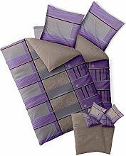Bettwäsche 4tlg 155x200 Baumwolle Set Kopfkissen Bettbezug Reißverschluss atmungsaktiv Bett Garnitur 80x80 Kissen Bezug CelinaTex 0003896 Fashion Aleksi grau viole