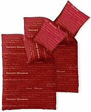 Bettwäsche 4tlg 155x200 Baumwolle Set Kopfkissen Bettbezug Reißverschluss atmungsaktiv Bett Garnitur 80x80 Kissen Bezug CelinaTex 0003977 Fashion Adora rot beige Schriftzug
