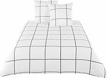 Bettwäsche aus Baumwolle, schwarz-weiß kariert