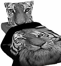 Bettwäsche Bettbezug Schwarz Tiger weiß royal