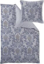 BETTWÄSCHE Damast Blau, Silberfarben 155/220 cm