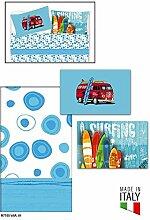 Bettwäsche Einzelbett mit Kissenbezüge in Digitaldruck Typ Surf 100% Baumwolle hergestellt und in Italien