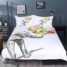 Bettwäsche,Elefant und Blumen-Muster