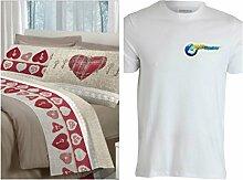 Bettwäsche Flanell Doppelbett mit Gratis Shirt
