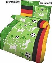 Bettwäsche Fußball grasgrün, 135x200cm, Biber