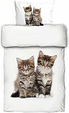 Bettwäsche Katzen Digitaldruck 135x200 Tiger