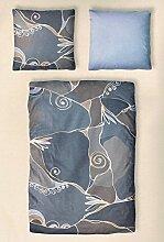 Bettwäsche Mako Satin Garnitur 135x200 / 70x70 cm ESTERHAZY blau-grau - Baumwollsatin #184