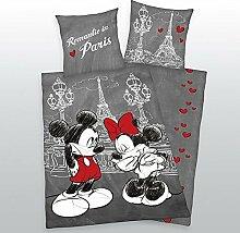 Bettwäsche Mickey + Minnie Mouse Maus Paris Liebe