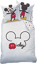 Bettwäsche Mickey Mouse weiß rot 135 x 200 cm,