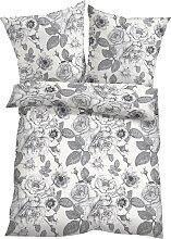 Bettwäsche mit Blumen Design, grau (2x 80/80cm,