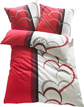 Bettwäsche mit Herzen, rot (2x 80/80cm, 2x