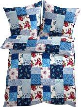 Bettwäsche Patchwork, blau (1x 80/80cm, 1x