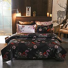 Bettwäsche Set Blau und Weißen Streifen Blumen Microfaser Bettbezug 3-teilig Bettwaren modern Heimtextilien Colour Schwarz Doppelbett 200x200cm