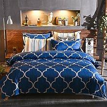Bettwäsche Set Blau und Weißen Streifen Blumen