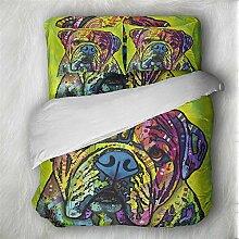 Bettwäsche Set Karikatur Katze und Hund Graffiti