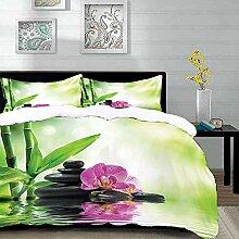 Bettwäsche-Set, Mikrofaser,Art Spa, Orchideen und