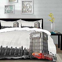 Bettwäsche-Set,Mikrofaser,London,Big Ben