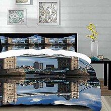 Bettwäsche-Set,Mikrofaser,London,Tower Bridge mit