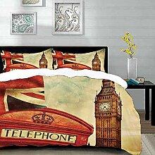 Bettwäsche-Set,Mikrofaser,London,Vintage-Stil