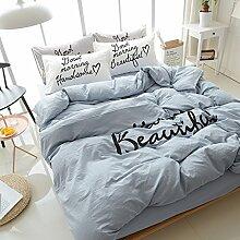 Bettwäsche set mode 4 stück set 100 % baumwolle doppelbett blatt duvet cover pflanze blumenmuster-K Queen2