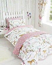 Bettwäsche-Set, Pferde-Motiv, Mädchen, Bettbezug
