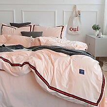 Bettwäsche set verdicken flanell warme herbst und winter bettdecke deck blatt blau grün rosa-K Queen2