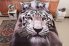 Bettwäsche Set Weiß Tiger Stil aus Polyster