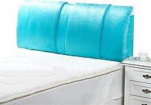 Bettwäsche / Sofa / Lendenwirbelkissen Bett große Kissen abnehmbare und waschbare Doppelbett Back Kissen Lendenwirbelstütze Bedside Rückenlehne, blau lhl-Standard-Füllung Kissen ( größe : 200*60cm )