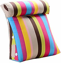 Bettwäsche / Sofa / Lendenwirbelkissen Dreieck Kissen / Kissen mit abnehmbarem Deckel und Nackenkissen, im Bett / Sofa / Büro / Haus / Auto, das für Lenden- / Rückenlehne / Lesekissen, Bunte Streifen verwendet werden kann lhl-Standard-Füllung Kissen ( größe : 45*45*20cm )