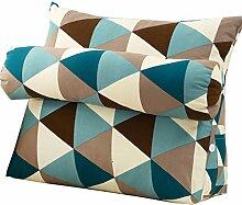 Bettwäsche / Sofa / Lendenwirbelkissen Dreieck Kissen / Kissen mit abnehmbarem Deckel und Nackenkissen, im Bett / Sofa / Büro / Haus / Auto, die für Lenden- / Rückenlehne / Lesekissen, Blau Weiß Braun verwendet werden kann lhl-Standard-Füllung Kissen ( größe : 60*50*22cm )