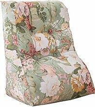 Bettwäsche / Sofa / Lendenwirbelkissen Dreieck Kissen / Kissen mit abnehmbarem Bezug, im Bett / Sofa / Büro / Haus / Auto, die für Lenden- / Rückenlehne / Lesekissen, Blumen verwendet werden kann lhl-Standard-Füllung Kissen ( größe : 55*60*30cm )