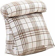 Bettwäsche / Sofa / Lendenwirbelkissen Dreieck Kissen / Kissen mit abnehmbarem Bezug und Halskissen, im Bett / Sofa / Büro / Haus / Auto, die für Lenden- / Rückenlehne / Lesekissen, weiße und braune Linien verwendet werden können lhl-Standard-Füllung Kissen ( größe : 45*45*20cm )