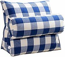 Bettwäsche / Sofa / Lendenwirbelkissen Dreieck Kissen / Kissen mit abnehmbarem Deckel und Nackenkissen, im Bett / Sofa / Büro / Haus / Auto, das für Lenden- / Rückenlehne / Lesekissen, blaues und weißes Gitter verwendet werden kann lhl-Standard-Füllung Kissen ( größe : 45*45*20cm )