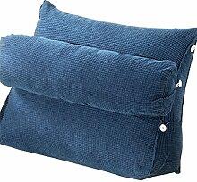 Bettwäsche / Sofa / Lendenwirbelkissen Dreieck Kissen / Kissen mit abnehmbarem Deckel und Nackenkissen, im Bett / Sofa / Büro / Haus / Auto, die für Lenden- / Rückenlehne / Lesekissen, Dunkelblau verwendet werden kann lhl-Standard-Füllung Kissen ( größe : 45*50*22cm )