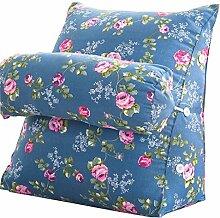 Bettwäsche / Sofa / Lendenwirbelkissen Dreieck Kissen / Kissen mit abnehmbarem Deckel und Nackenkissen, im Bett / Sofa / Büro / Haus / Auto, die für Lenden- / Rückenlehne / Lesekissen, Blaues Blumen verwendet werden kann lhl-Standard-Füllung Kissen ( größe : 60*50*22cm )