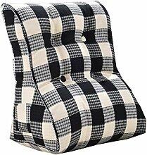 Bettwäsche / Sofa / Lendenwirbelkissen Dreieck Kissen / Kissen mit abnehmbarem Bezug, im Bett / Sofa / Auto / Büro / Haus, die für Lenden- / Taille / Rückenlehne / Lesekissen, Schwarz-Weiß-Gitter verwendet werden kann lhl-Standard-Füllung Kissen ( größe : 55*60*30cm )