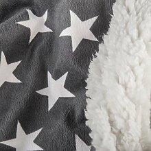 Bettwäsche Stern 2tlg 155x220 Lammfell Sherpa Optik Nicki Lamm Fell Wende Bettwäsche Winter Bettbezug Bettgarnitur flauschig kuschelig warm CelinaTex 5000119 Fantasia Stella grau weiß beige Sterne