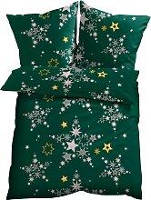Bettwäsche Sterne, grün (1x 80/80cm, 1x 135/200cm)