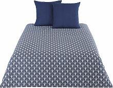Bettwäschegarnitur aus Baumwolle, grau und blau