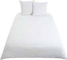 Bettwäschegarnitur aus weißem Leinen 220x240