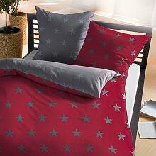 BettwarenShop Biber Bettwäsche Stars rubin