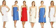 Betz Damen Saunakilt Sauna Kilt 100% Baumwolle Regulierbare Weite durch Knöpfe und Gummizug Farbe rot gestreif
