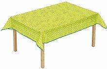 Betzold 53469 Tischdecke rechteckig Kindertischdecke mit Punkte, abwaschbar,Grün, 160 x 120 cm