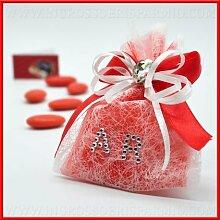 Beutel Gastgeschenk für confettate aus Tüll rot