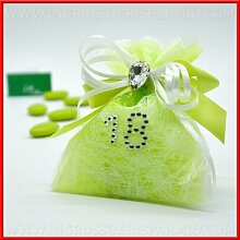 Beutel Gastgeschenk für confettate in Tüll grün