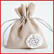 Beutel Gastgeschenk in Baumwolle Farbe Taupe mit