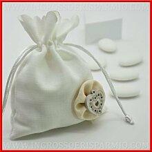 Beutel Gastgeschenk in Baumwolle Farbe Weiß mit