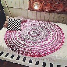 """Beverly Memory Fashion Rund Dünn Bohemia Multicolor Schwarz Weiß ttassels Strandtuch Outdoor Yoga Matte Sonnenschutz Schal Wand Gobelin, Purple & Hot Pink, 160cm(63"""")"""