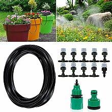 Bewässerung Kit, ikalula DIY Drip Bewässerungssystem mit Spray Micro Drip System Automatische Sprinkler für Garten, Landschaft, Flower Bed, Terrasse Pflanzen - 10M