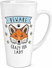 Beware CRAZY FOX LADY 17oz große Latte Becher